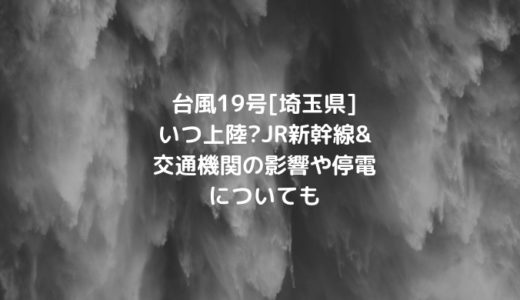 台風19号[埼玉県]いつ上陸?JR新幹線&交通機関の影響や停電についても